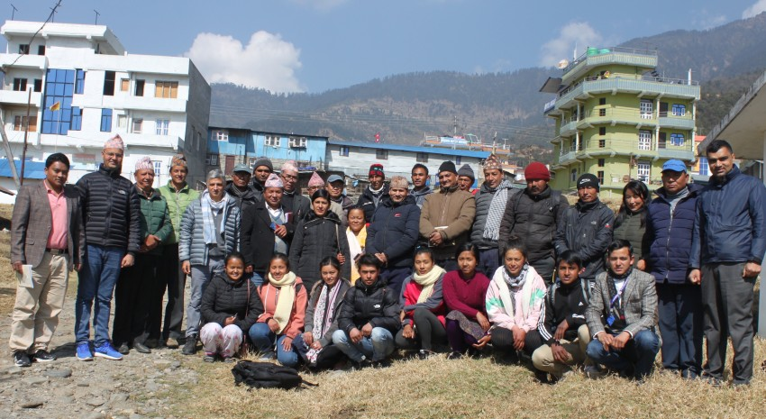 Public Private Community Alliance (PPCA) members assemble in Jiri for a planning meeting